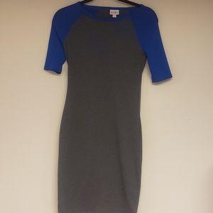 LuLaRoe gray with blue sleeve dress
